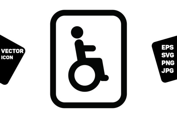 Print on Demand: Man Symbol Icon Vector on Wheelchair Graphic Icons By TukTuk Design
