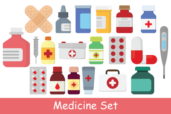 Print on Demand: Medicine Illustration Set Graphic Illustrations By studioisamu