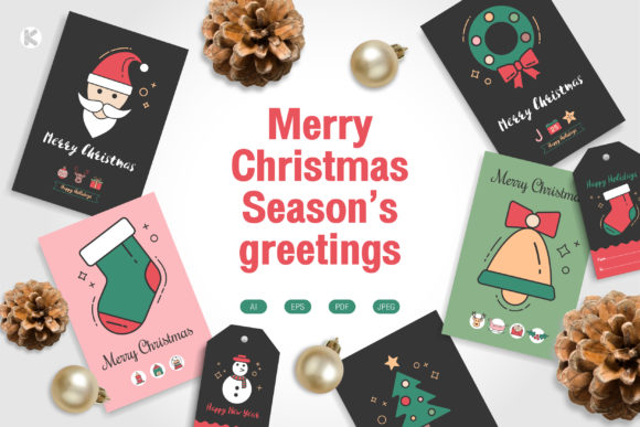 Merry Christmas Season's Greetings. Graphic Print Templates By Koson.graphic