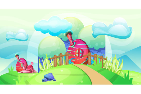 Mushroom Houses in the Garden Illustrati Graphic Illustrations By maniacvector