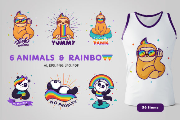 Pandas & Sloths with Rainbow Graphic Illustrations By lesartbiz