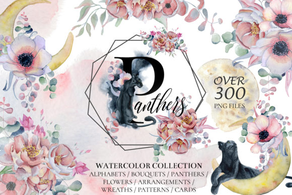 Panthers & Floral Watercolor Grafik Illustrationen von EvgeniiasArt