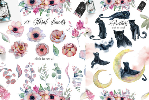 Panthers & Floral Watercolor Graphic Preview