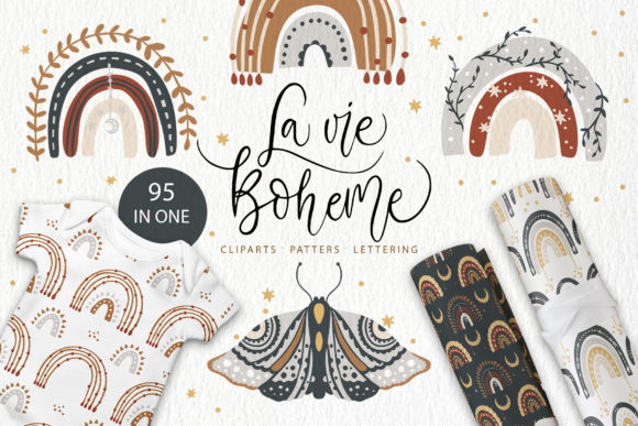 Print on Demand: Rainbow & Butterfly. Boho Set. Cliparts Graphic Illustrations By Red Ink