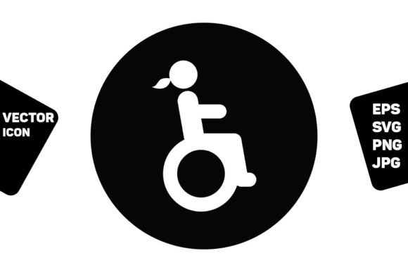 Print on Demand: Restroom Sign Vector Disabled Woman Graphic Icons By TukTuk Design