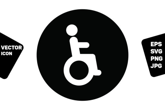 Print on Demand: Restroom Sign Vector with Disabled Man Graphic Icons By TukTuk Design