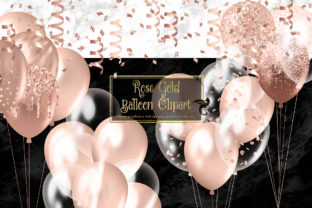 Print on Demand: Rose Gold Balloons Clipart Graphic Illustrations By Digital Curio