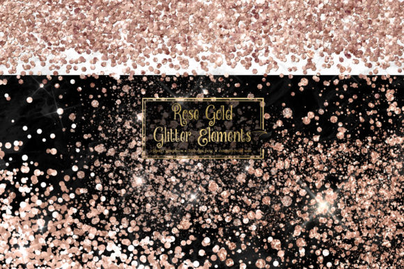 Rose Gold Glitter Elements Graphic
