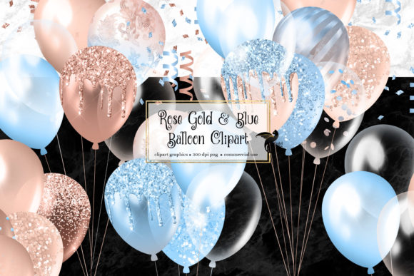 Print on Demand: Rose Gold and Blue Balloons Clipart Graphic Illustrations By Digital Curio