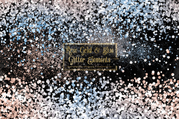 Print on Demand: Rose Gold and Blue Glitter Elements Graphic Illustrations By Digital Curio