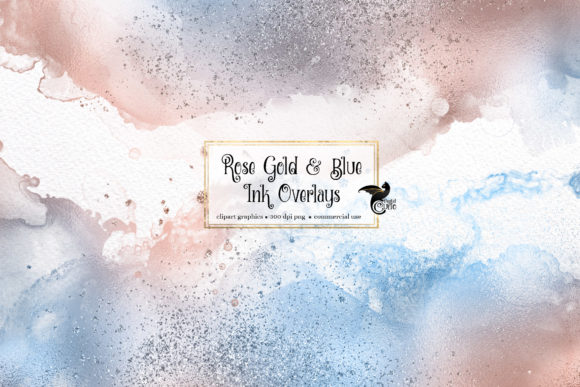 Rose Gold and Blue Ink Overlays Graphic