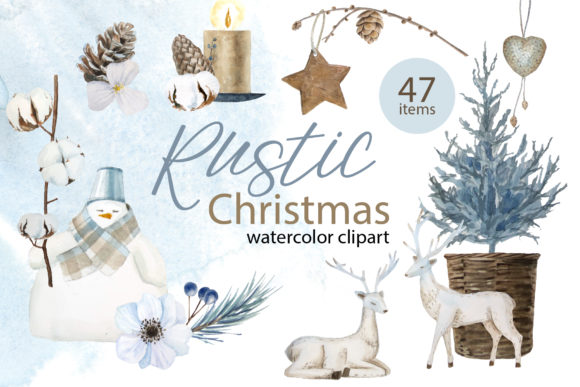 Rustic Watercolor Christmas Clipart Graphic Illustrations By lena-dorosh
