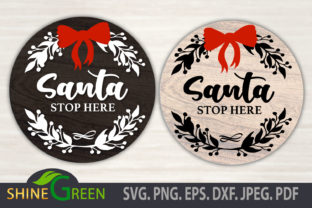 Print on Demand: Santa Stop Here - Floral Christmas Round Graphic Crafts By ShineGreenArt