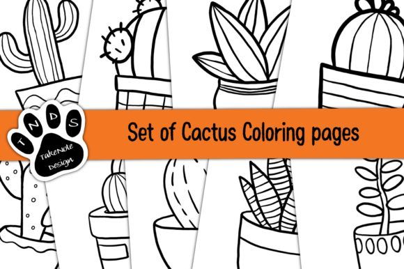 Set of Cactus Coloring Pages Graphic Coloring Pages & Books Kids By TakeNoteDesign