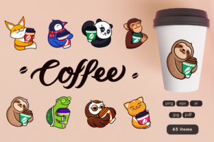 Print on Demand: Set of Logos Cartoon Coffee Graphic Illustrations By lesartbiz