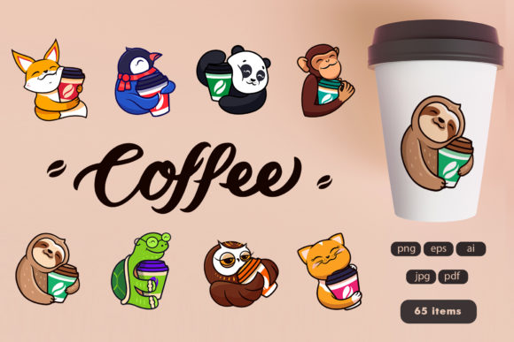 Set of Logos Cartoon Coffee Graphic Illustrations By lesartbiz