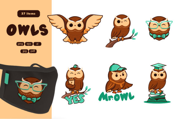 Print on Demand: Set of Logos Owls Graphic Illustrations By lesartbiz