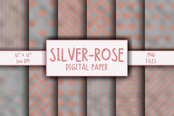 Print on Demand: Silver-Rose Gold Pattern Digital Paper Graphic Patterns By atlasart