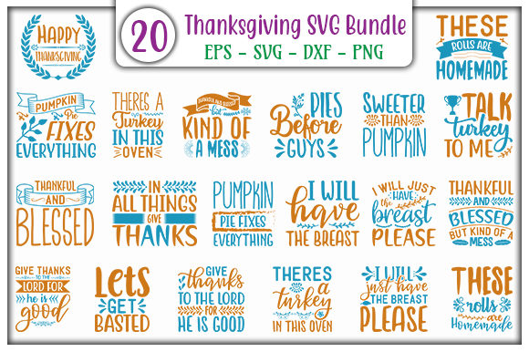 Print on Demand: Thanksgiving SVG Design Bundle Graphic Print Templates By GraphicsBooth
