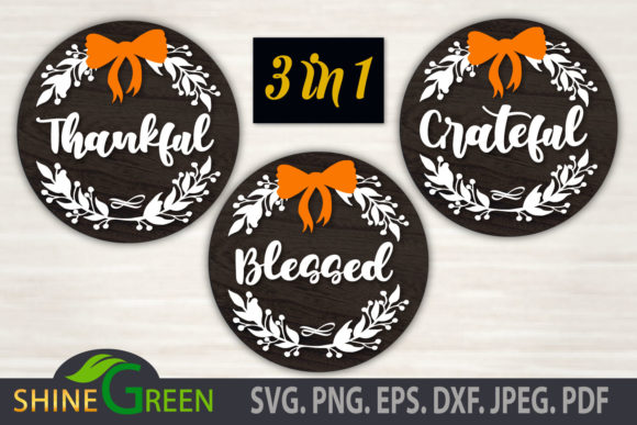 Print on Demand: Thanksgiving - Thankful Grateful Blessed Graphic Crafts By ShineGreenArt