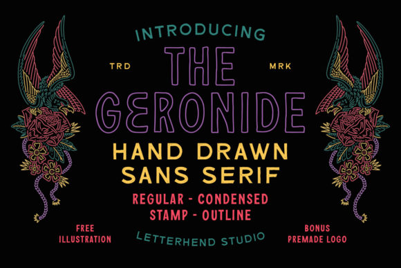 Print on Demand: The Geronide Display Font By letterhend