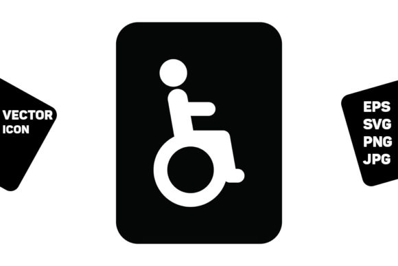 Print on Demand: Toilet Sign Vector with Disabled Man Graphic Icons By TukTuk Design