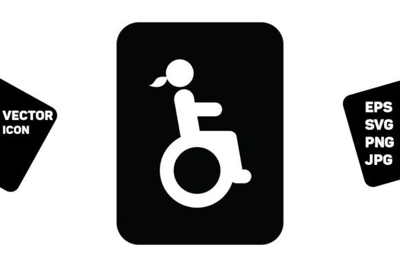 Print on Demand: Toilet Sign Vector with Disabled Woman Graphic Icons By TukTuk Design