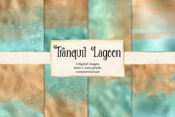 Print on Demand: Tranquil Lagoon Digital Paper Grafik Textures von Digital Curio