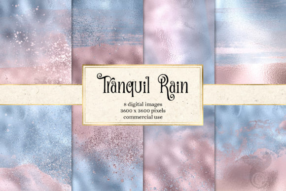 Print on Demand: Tranquil Rain Digital Paper Graphic Textures By Digital Curio