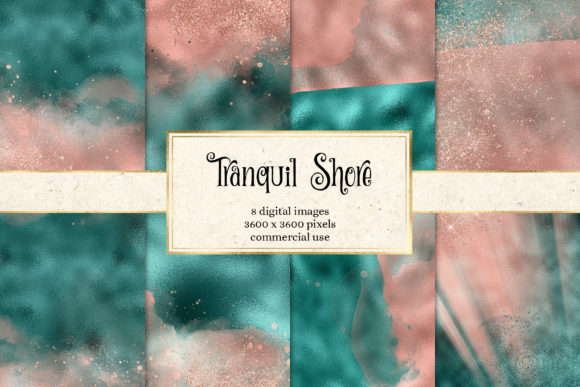 Print on Demand: Tranquil Shore Digital Paper Graphic Textures By Digital Curio