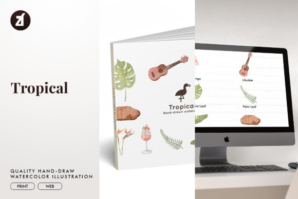 Tropical Watercolor Illustration Graphic Illustrations By Chanut is watercolor