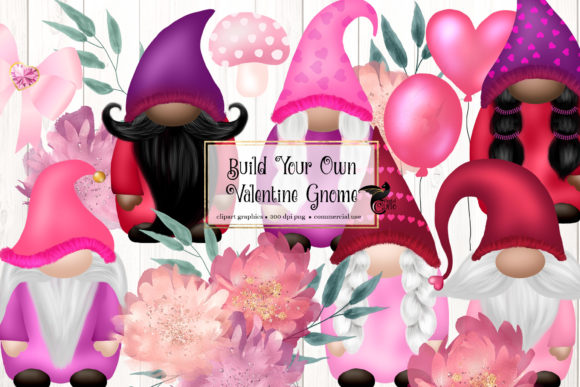 Print on Demand: Valentine Gnomes Clipart Grafik Illustrations von Digital Curio