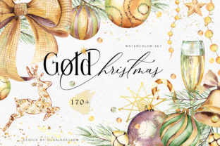 Watercolor Gold Christmas Clipart Graphic Illustrations By Olga Koelsch