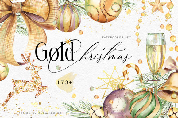 Watercolor Gold Christmas Clipart Grafik Illustrations von Olga Koelsch