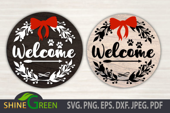 Print on Demand: Welcome Round Sign Dog Cat Paw Christmas Graphic Crafts By ShineGreenArt