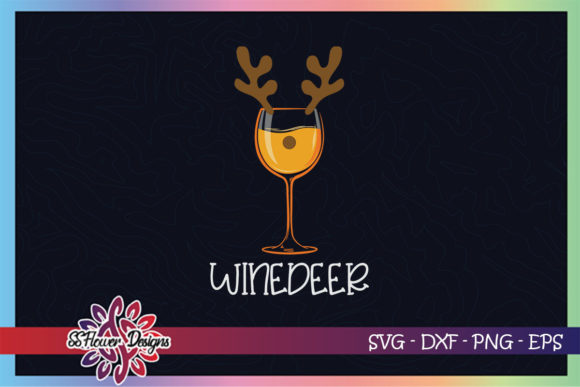 Wine Deer Christmas Wine Lover Graphic Print Templates By ssflower