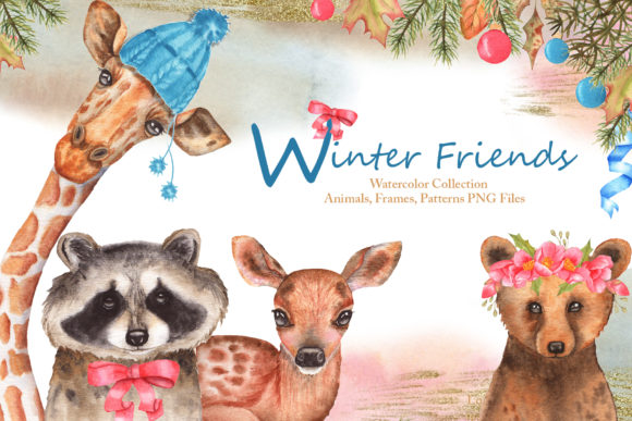 Print on Demand: Winter Friends Watercolor Collection Grafik Illustrations von tanatadesign