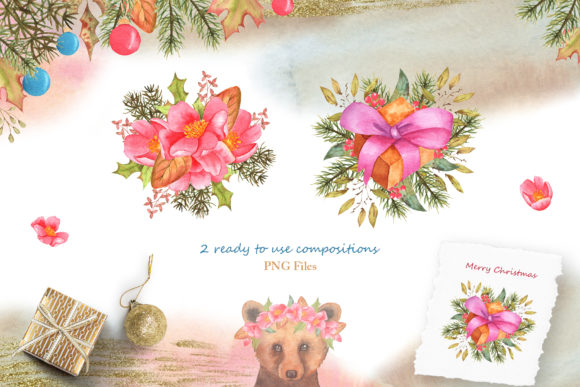 Winter Friends Watercolor Collection Graphic Image