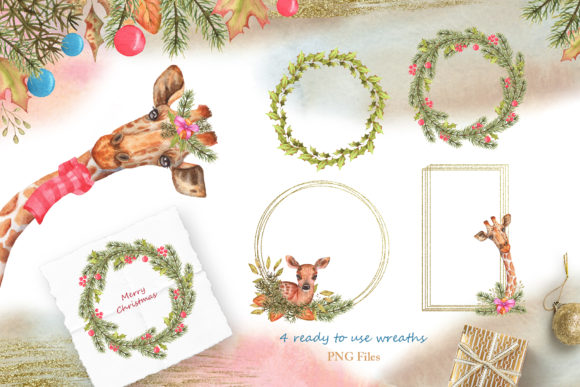 Winter Friends Watercolor Collection Graphic Design Item