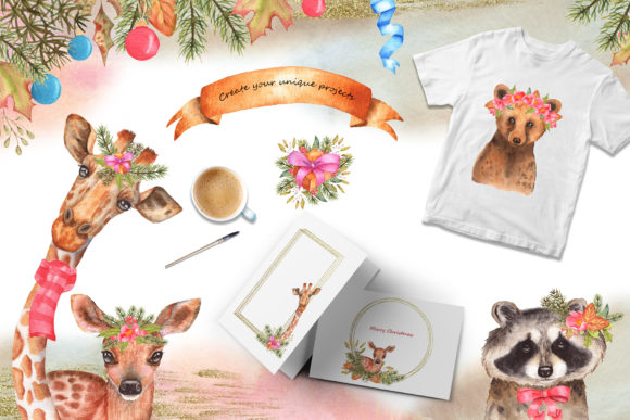 Winter Friends Watercolor Collection Graphic Popular Design