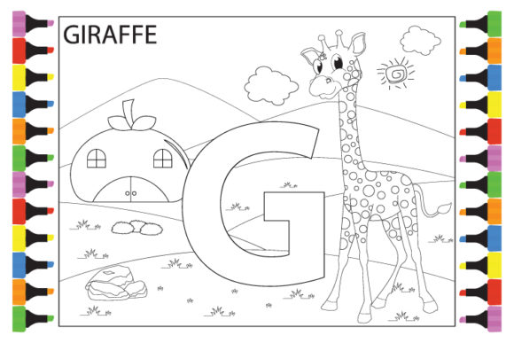 Print on Demand: Coloring Giraffe with the Letter G Graphic Illustrations By curutdesign