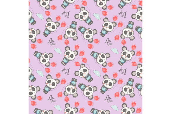 Cute Baby Panda Cartoon Seamless Pattern Graphic Illustrations By maniacvector