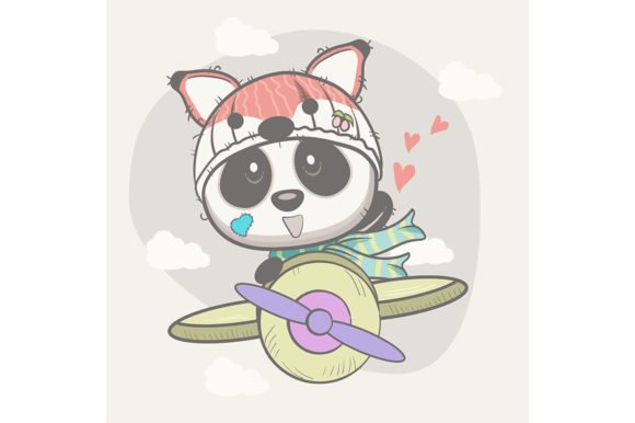 Cute Baby Panda on a Plane Graphic Illustrations By maniacvector