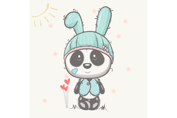 Cute Baby Panda with Rabbit Hat Graphic Illustrations By maniacvector