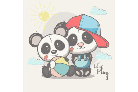 Cute Best Friends Baby Panda Graphic Illustrations By maniacvector