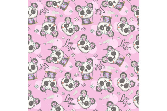 Cute Panda Cartoon Seamless Pattern Graphic Illustrations By maniacvector