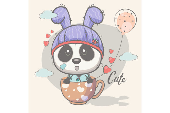 Cute Panda with Balloons Graphic Illustrations By maniacvector