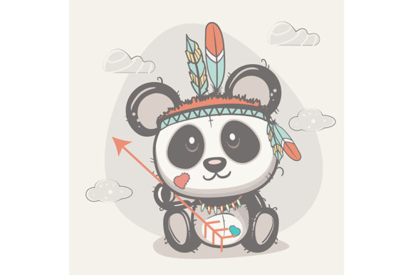 Cute Panda with Feathers Graphic Illustrations By maniacvector