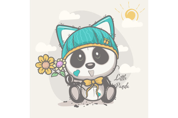 Cute Panda with Flowers Graphic Illustrations By maniacvector
