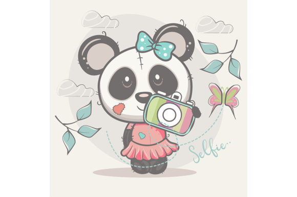 Cute Selfie Panda Girl Graphic Illustrations By maniacvector